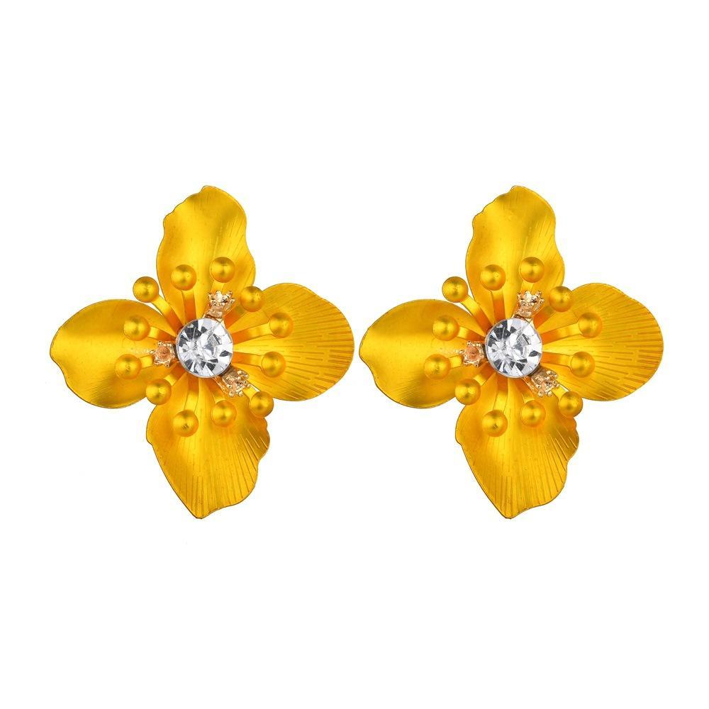 2018 Sweet Jewelry Spray Paint Effect Flower Stud Earrings With
