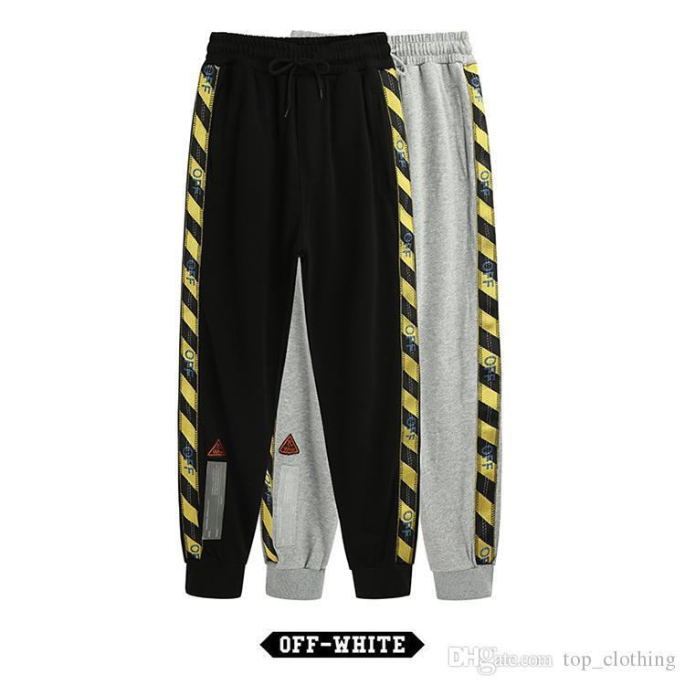 no sale tax large assortment best authentic Men Hip Hop Pants OFF Fashion WHITE Stripe Camouflage Zipper Sports  Trousers Mens Casual High Quality Autumn Fitness Designer Sweatpants