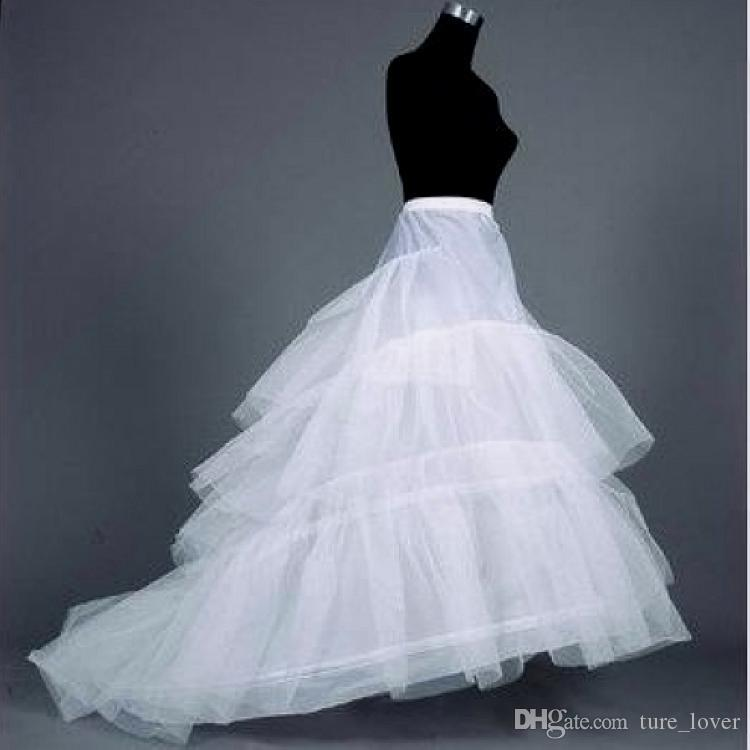 Longo Train Petticoat Vestidos de Noiva Hoop Saia de 3 aros Underskirt Crinolina Underdress Slip Mulheres Saia Vestido Petticoat