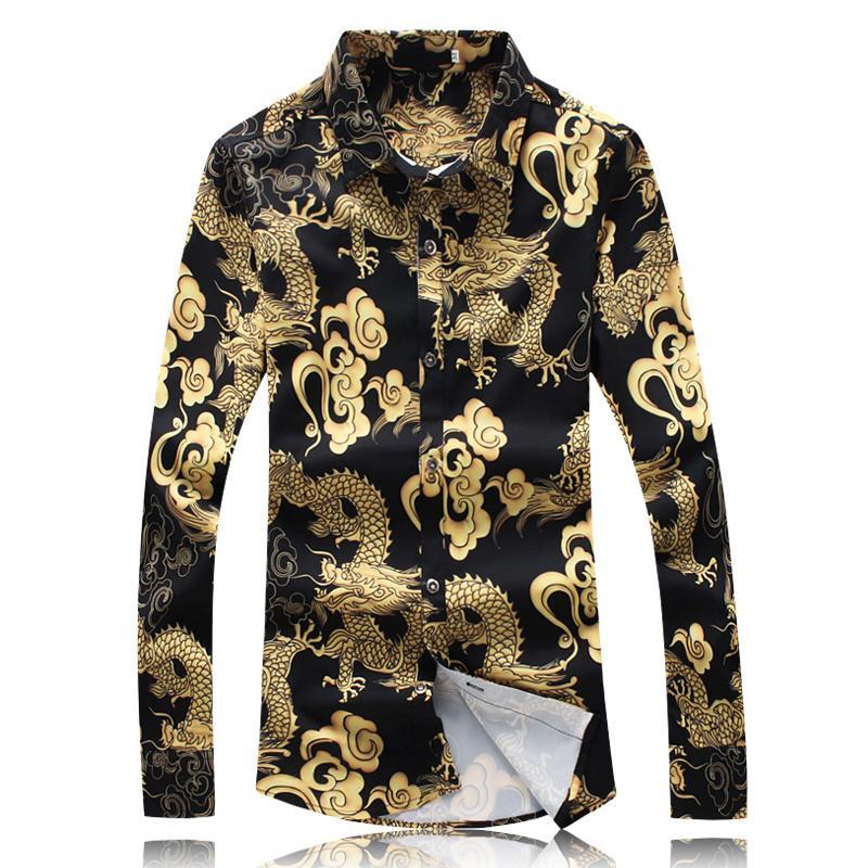 grosshandel 2018 chinesischen stil mannlichen hemd drachen muster langarmshirts fur manner plus 5xl mode designer herren dunne casual dress shirts von bairi