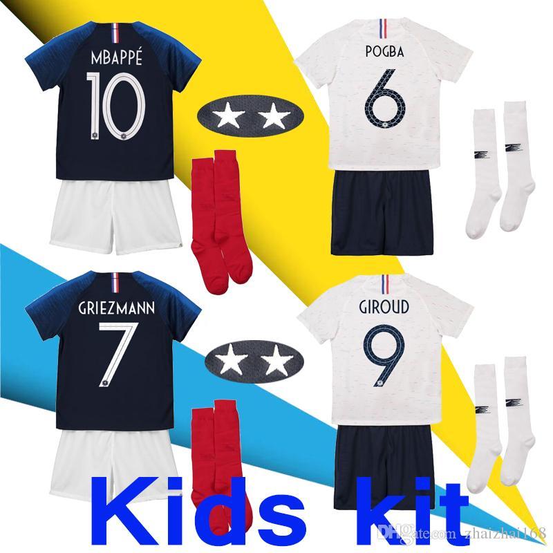 4674be4e6 2 Stars Kids Kit GRIEZMANN MBAPPE POGBA French Soccer Jersey 2018 ...