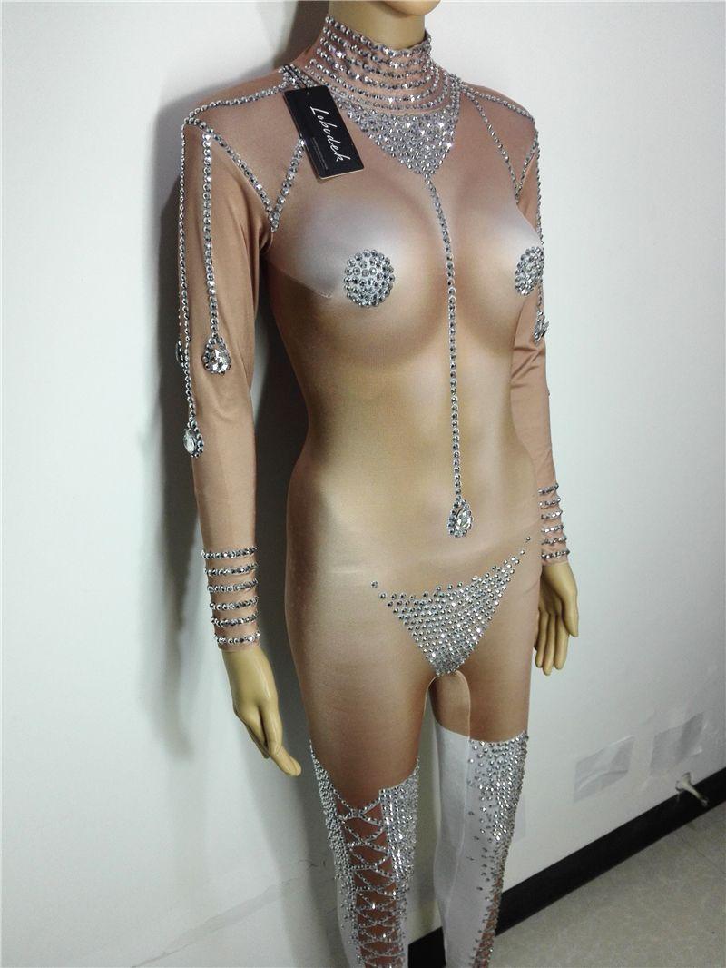Bright Crystals Bikini Jumpsuit Sexy Bar Nightclub DJ DS Female stage Costumes Leading Dancer Pole dancing show performance wear