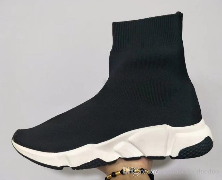 Double Box Speed Trainer Boots Socks Stretch-Knit High Top Trainer Shoes Cheap Sneaker Black White Woman Man Couples Shoes Casual Boots