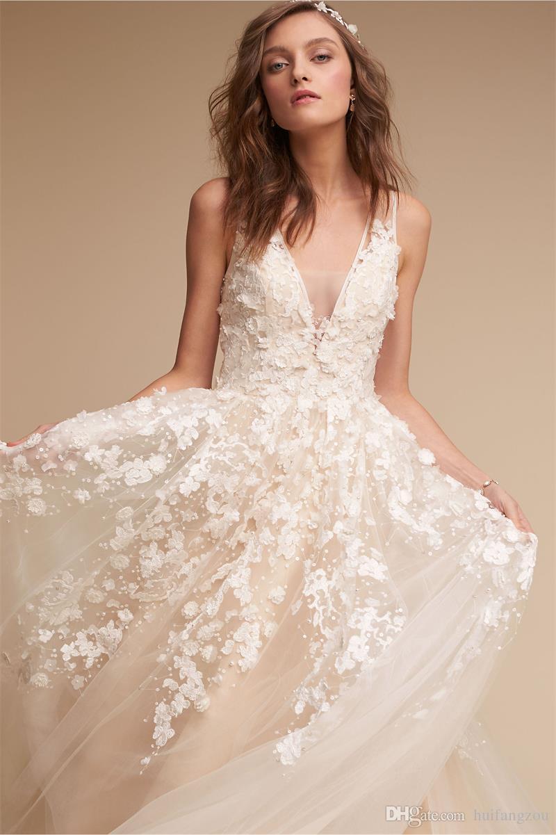 2018 Los vestidos de boda más nuevos de BHLDN Bohemia delicado del cordón de Champán Applique los vestidos de boda profundos de la playa con cuello en V ilusión más el vestido de boda del tamaño