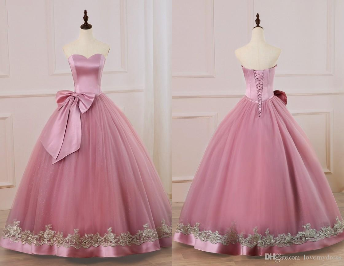 26001775ef3 Gold Lace Cheap Quinceanera Dresses Dusty Rose Sweetheart Tulle Bows  Backless Ruched Simple Cheap Long Prom Sweet 16 Dress Vestidos 15 Anos  Cheap Semi ...