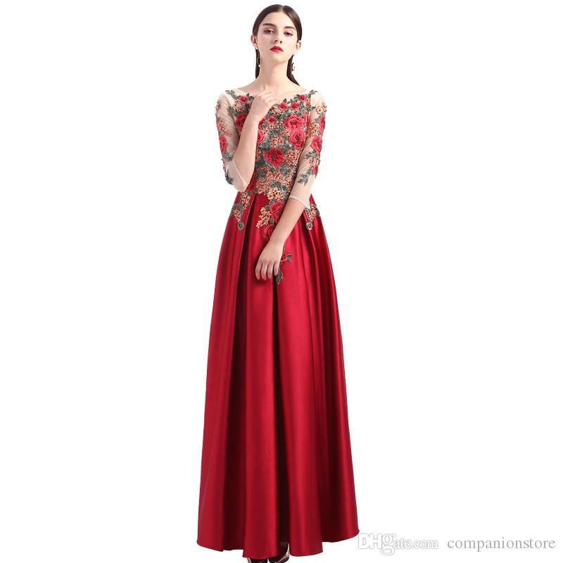 f7670285e Vestido de fiesta largo transparente de tres cuartos con cuello en V  transparente Vestido sin espalda de encaje con lentejuelas bordado con  cuentas ...