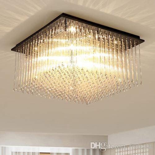 New design modern LED rectangle crystal chandeliers light square chandelier  lightings for living room bedroom guest room hotel room