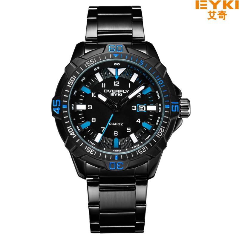 7a40347d0846 Compre EYKI Marca Relojes Hombres Reloj De Pulsera Deportivo De Acero  Inoxidable Completo Hombre Fecha Luminoso Reloj De Cuarzo Relogio Masculino  Negro A ...