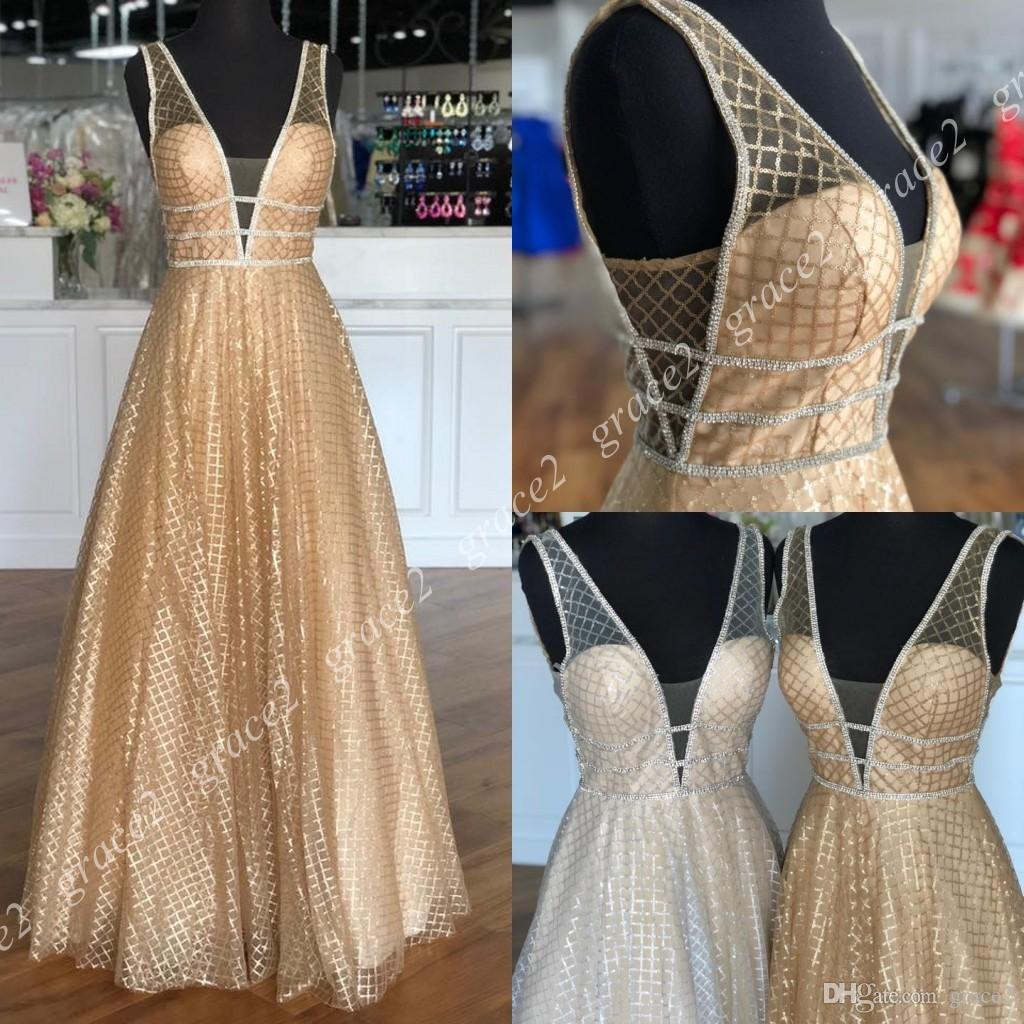 3056e9d333 Champagne Gold Sequined Prom Dresses 2019 Deep V Halter Neck Backless  Sparkle Formal Evening Dresses Silver Women Party Gowns Real Picture  Perfect Prom ...