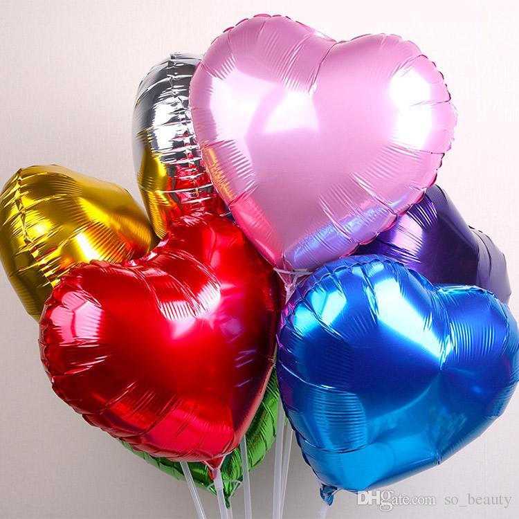 18 polegadas Coração Folha de Balão de Hélio Decoração de Aniversário Rosa Vermelho Azul Verde Roxo Ouro Prata Escolha a Cor