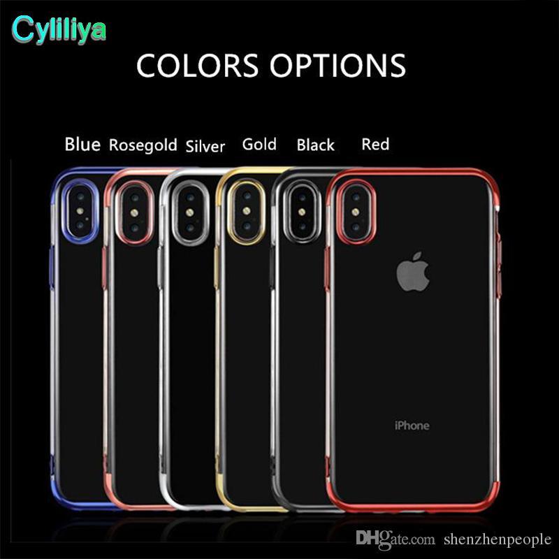Caisses de placage claires molles de silicone de TPU pour IPhone X 8 7Plus 6S Antichoc pour la conception de berceau de galaxie Note 8 S9 plus S8