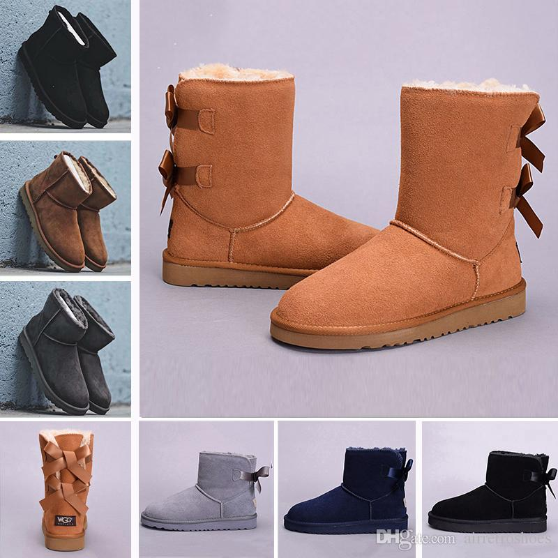 2018 Winter WGG Leather Women Australia Classic Kneel Half Boots Ankle Boots  UGS Black Grey Chestnut Navy Blue Red Womens Girl Boots 36-41 WGG Women  Boots ... 9bf7efff31ee