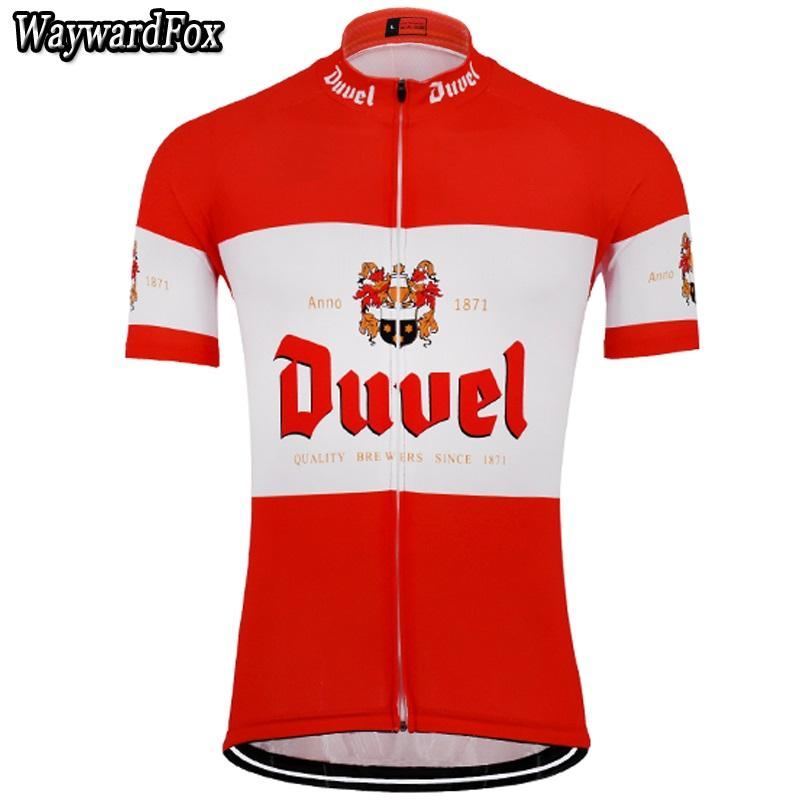 Compre 2018 Novo Verão Dos Homens Vermelho   Branco Cerveja Ciclismo Camisa  De Ciclismo Clothing Equipe Mtb   Road Roupas De Bicicleta Desgaste Da  Bicicleta ... 011060be41e69