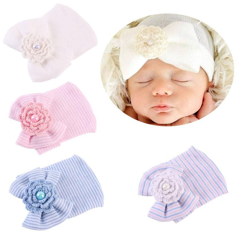 4f7aa5387eb 2019 New Arrive Nice Newborn Baby Infant Toddler Girls Bow Flower Soft  Hospital Cap Beanie Cute Hat From Entent