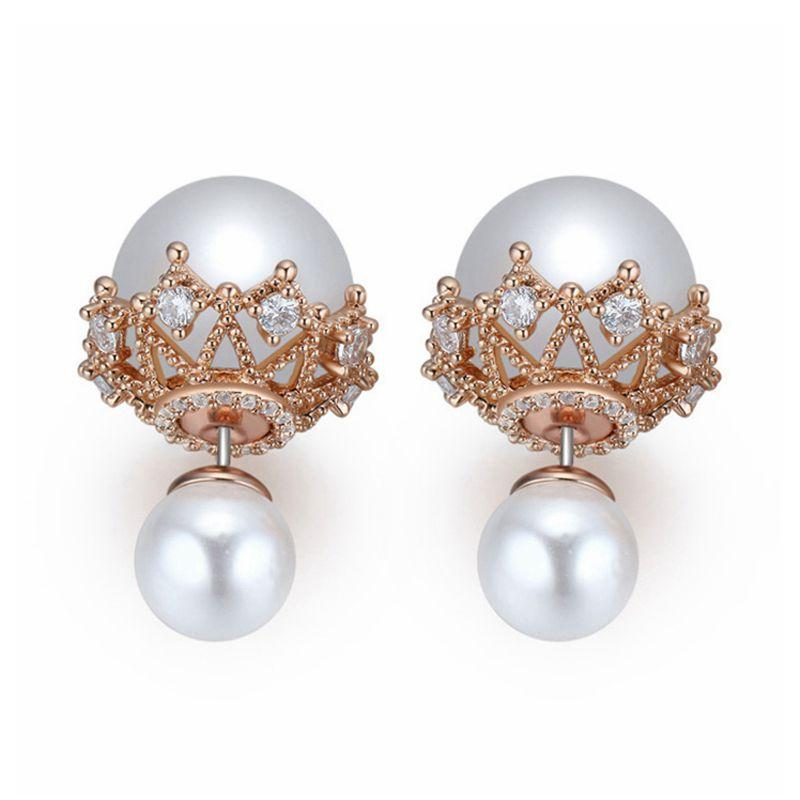2018 New Big brand zircon hollow double Pearl Earrings Bride's wedding jewellery Copper plated pearls with gold