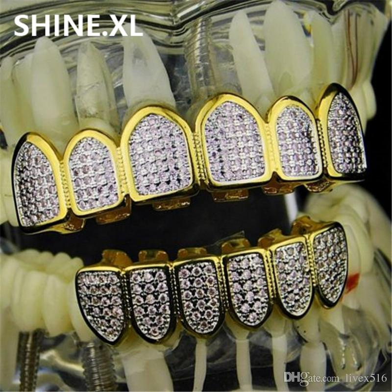 New Custom Fit Hip Hop Gold Teeth Grillz Caps Micro Pave Fuchsia Cubic Zirconia Top & Bottom Grills Set for Christmas Gift Women