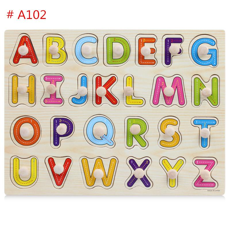Baby Jigsaw Puzzle Intelligence Development 26 Letters Animals Fruits Wood Board For Infants Education Learning Toys Free DHL A736