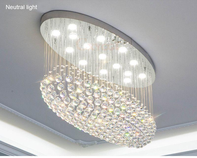 Plafoniere Da Cucina A Led : Acquista moderno ovale led k lampadario di cristallo
