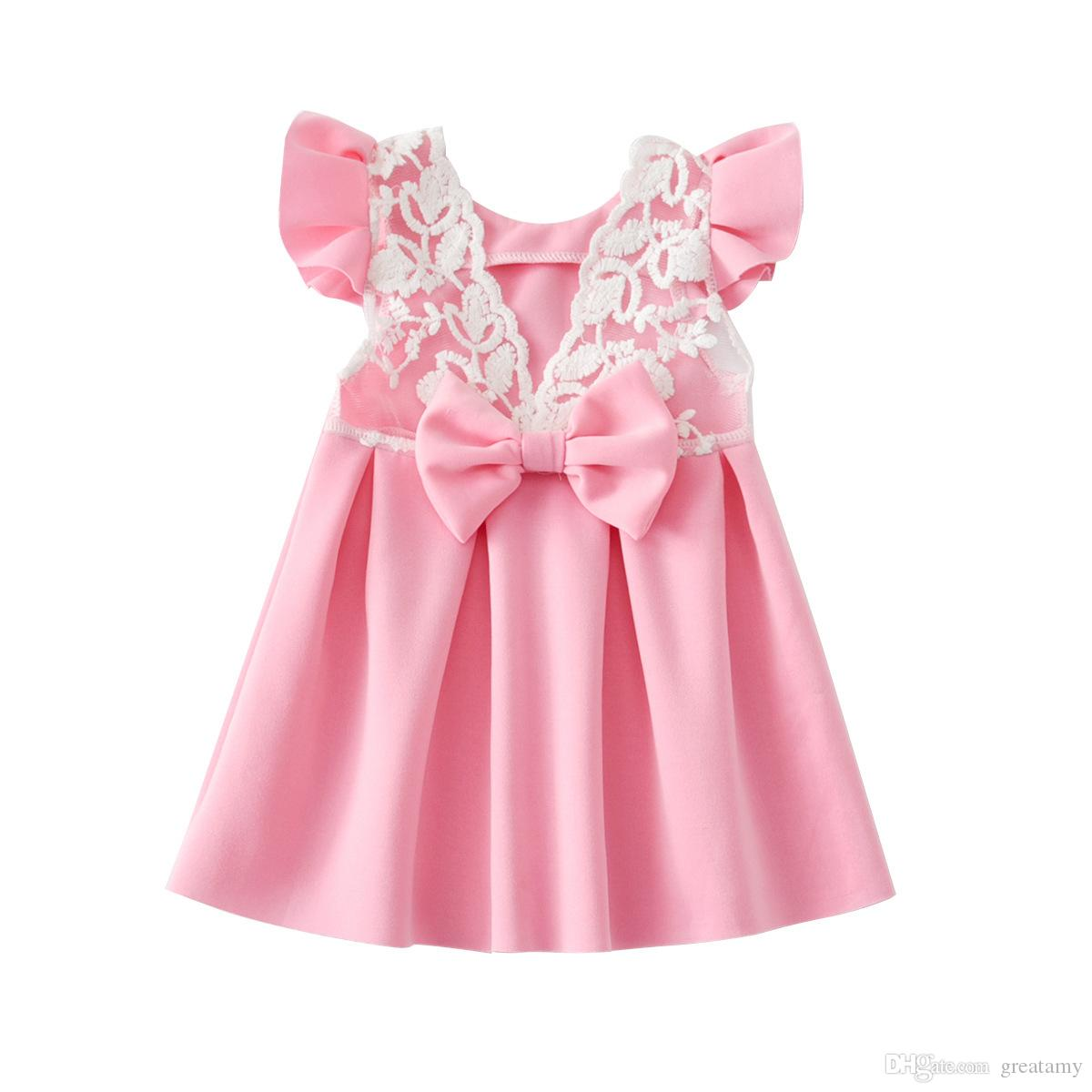 02276c20995a Pink Blue Color Baby Lace Butterfly Backless Princess Skirt with Big ...