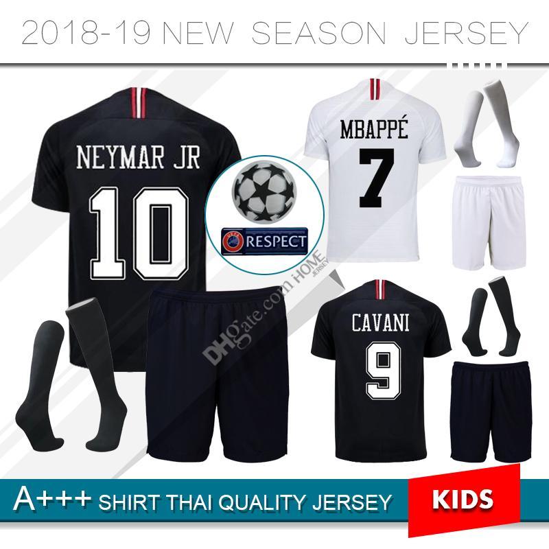 0fdcd7970ce 2019 2018 2019 Psg Kids Kit Soccer Jersey 18 19 Champions League MBAPPE  Black White CAVANI VERRATTI Paris Maillot De Foot Football Shirt From  Homejersey, ...