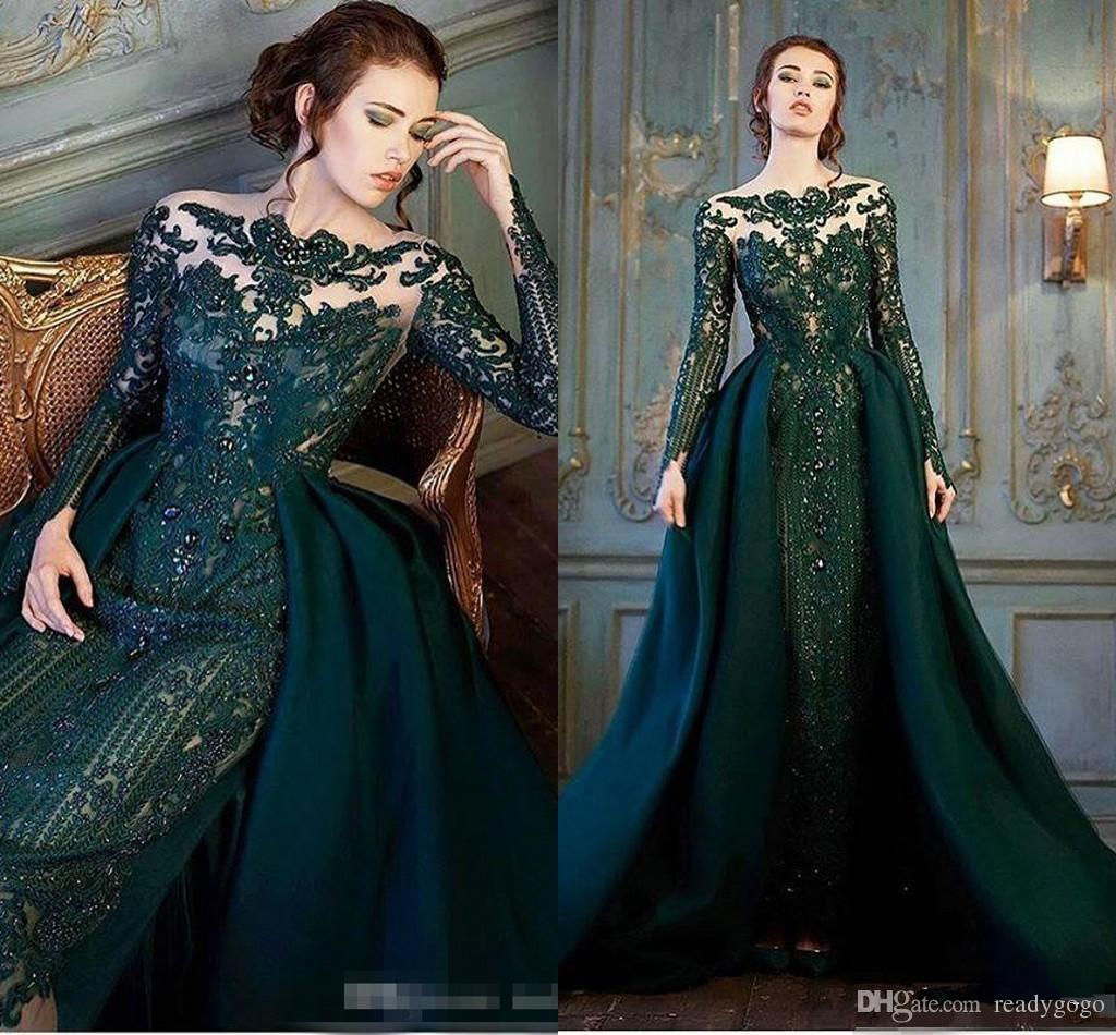 Modest Emerald Hunter Green Long Sleeve Prom Formal Dresses with Detachable Train Luxury Lace Beaded Mermaid Evening Wear Dress