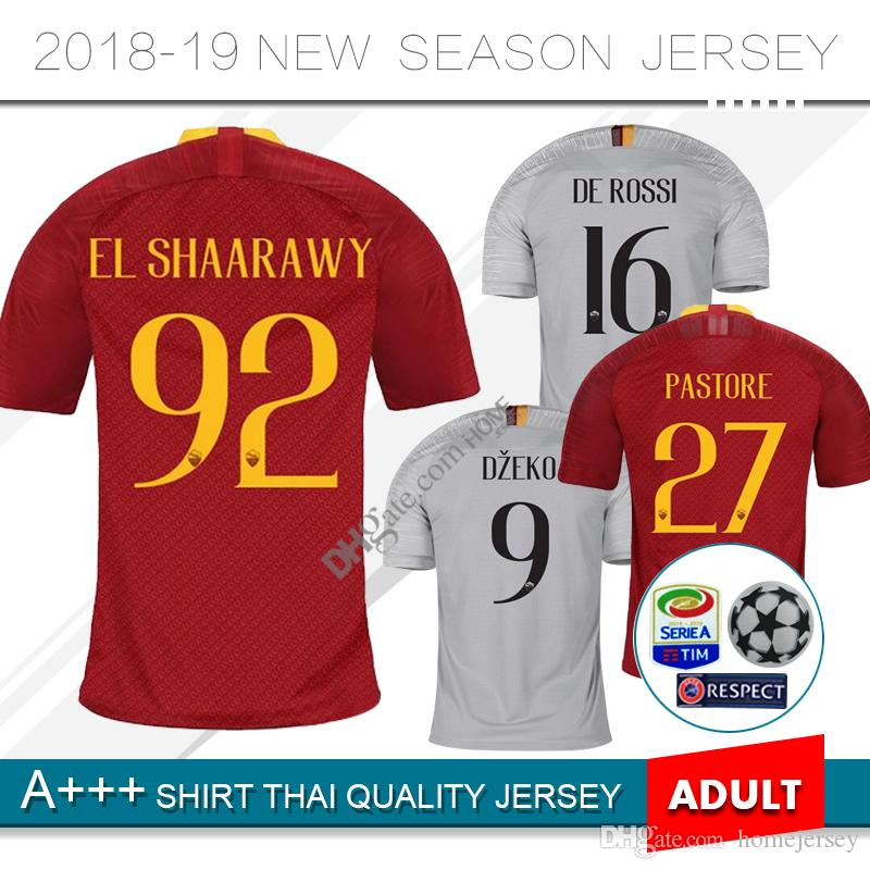 65fa55ed9ea 2019 2019 TOTTI Home Red Soccer Jersey 18 19 Away DE ROSSI Soccer Shirt  Customized DZEKO EL SHAARAWY Short Sleeve Football Shirt From Homejersey