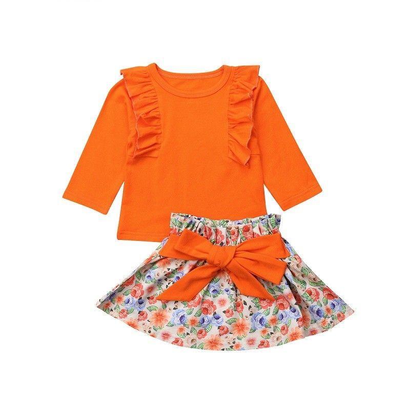 9ae16f8c9 2019 Newborn Kid Baby Girl Clothes Set Autumn Long Sleeve Orange Top ...