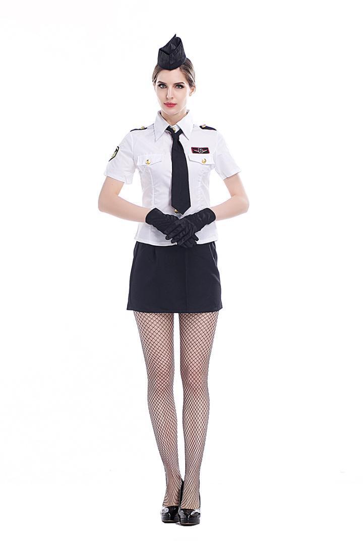 cf4de8c875e Adult Women Sexy Air Hostess Uniform Flight Stewardess Costume Navy Shirt  Shorts Skirt Attendant Cosplay Fancy Outfit For Girls