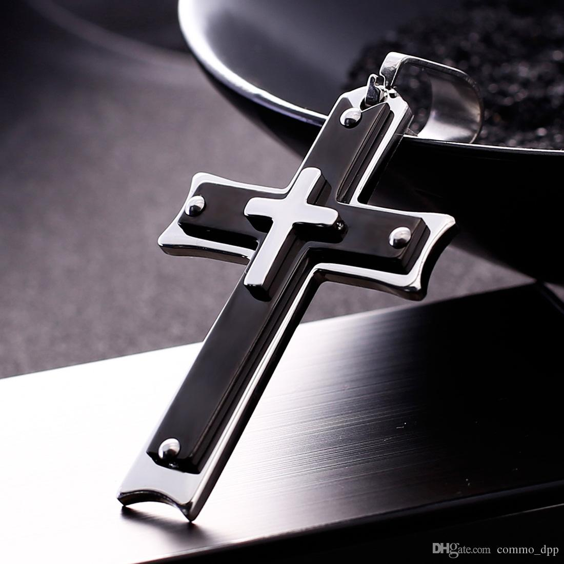 Mens Cross pendant Stainless steel Christian Jesus crucifix Charm Bike chain necklace For women Punk Jewelry Gift
