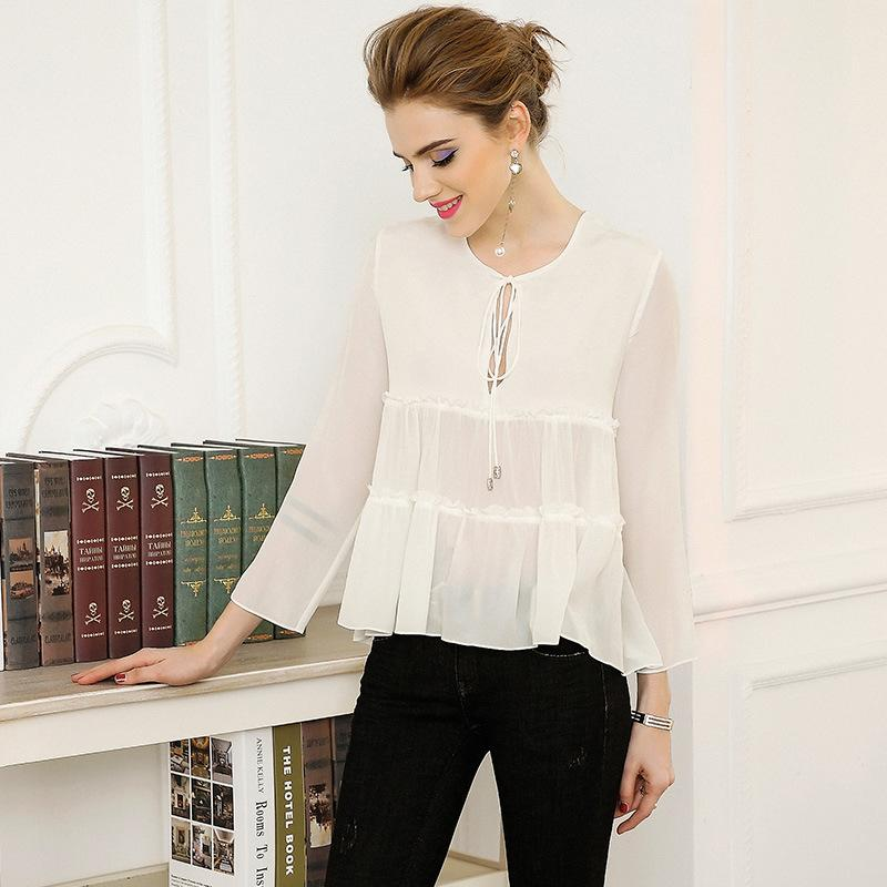c19aed6a02ec8 2019 100%Silk Tops Cute Women Hollow Out Ruffles Solid Shirts Ladies White  Pink Black Blouses Casual Club Sexy Blusas Top Feminino From Baicao