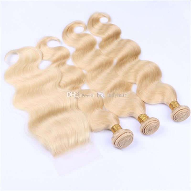 Platinum Blonde 613 Fermeture de dentelle avec des paquets Péruvienne Blonde Corps de cheveux vierges Vague Weaves et Top Fermeture Partie libre