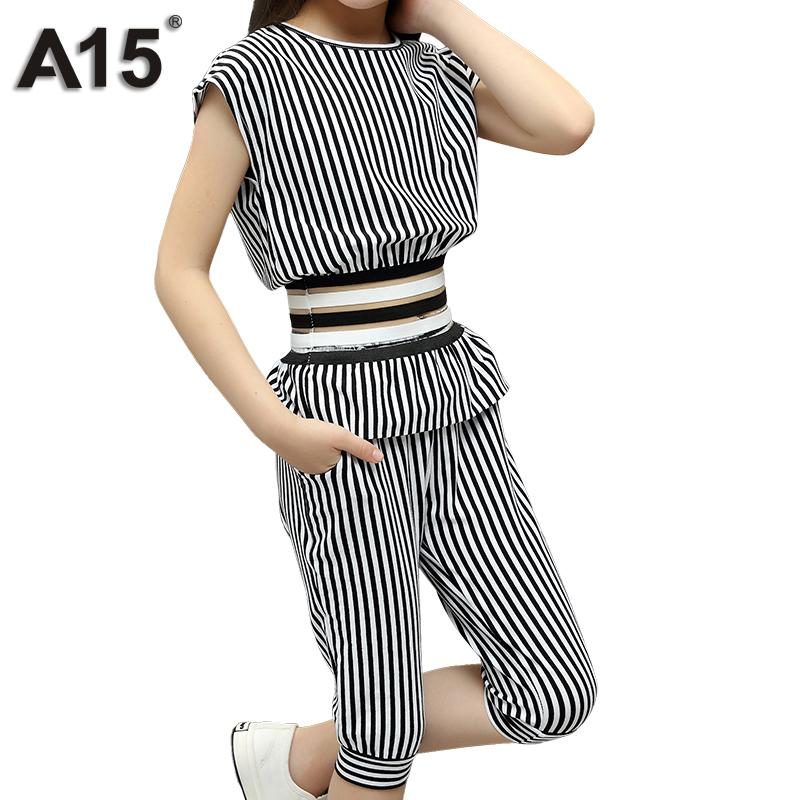 dce49d602f3 2019 A15 Teenage Girls Clothing Set Summer 2018 Kids Clothes Outfits Suit Children  Clothes Set Striped Tracksuit Size 8 10 12 14 From Friendhi