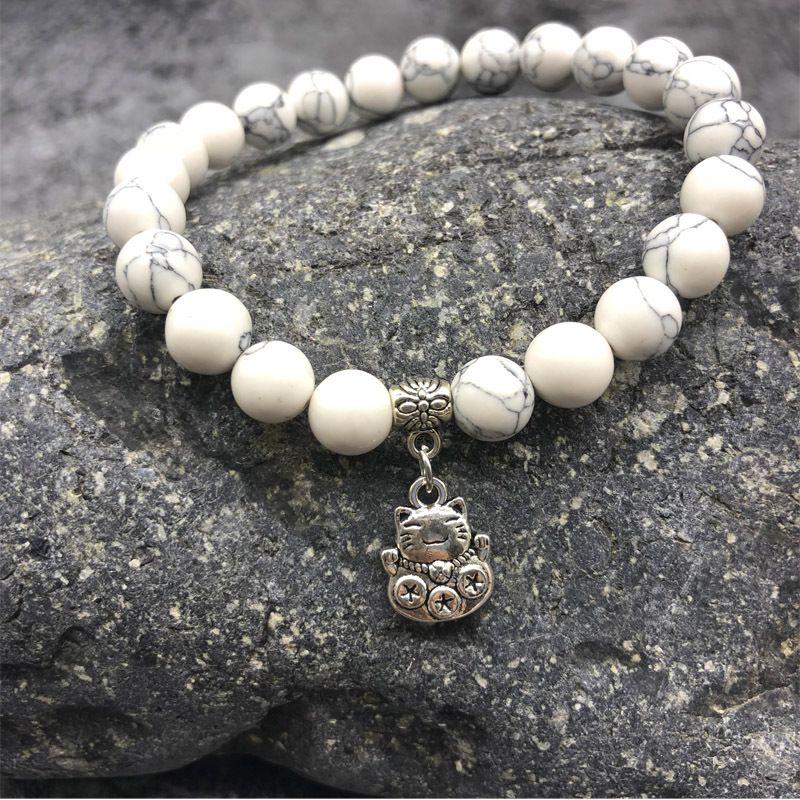 White Howlite Bead Elastic Bracelet FITS 18//20MM Interchangeable Snap Jewelry
