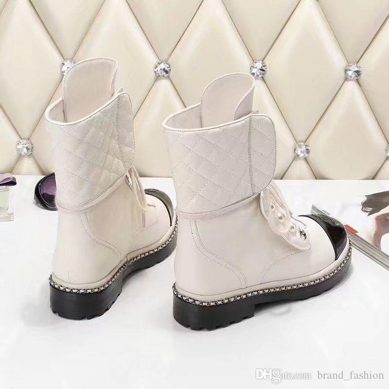 Kadınlar için yüksek Kaliteli Deri Çizme Beyaz Siyah Flats Orta Çizmeler Kış Bahar Matin Çizmeler Kadın
