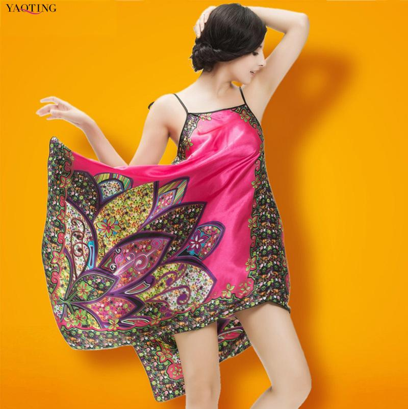 Plus Größe Frauen Faux Seidendruck Nachthemd Nachthemd, rückenfreie lose Nachtwäsche coole Sommermarke nach Hause Kleidung