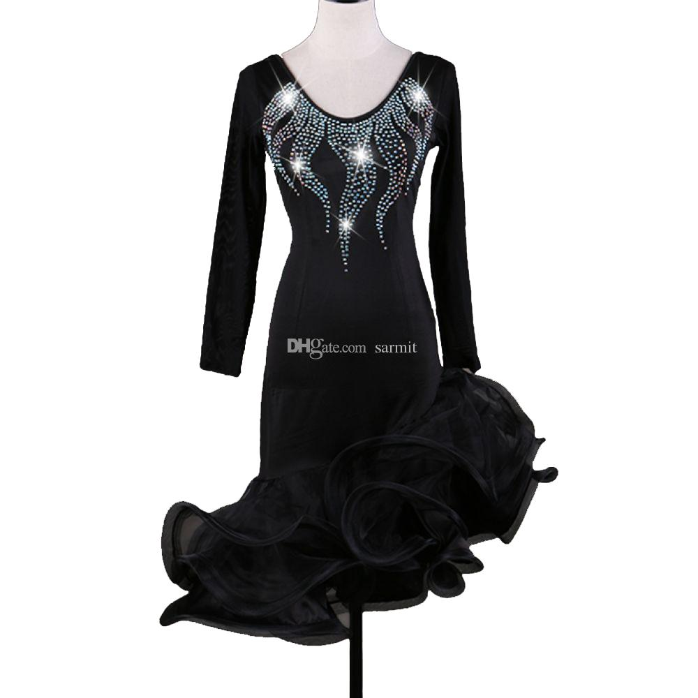 Vestido de baile latino Mujeres Niñas Salsa latina Competencia de baile Vestidos Borla D0338 Sin respaldo negro Manga larga Irregular Sheer Hem Rhinestones