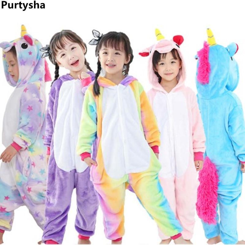 9baa6e33bf Children Pajamas Unicorn Winter Cartoon One Pieces Animal Pyjama Flannel  Nightgown Kids Girls Blanket Sleeper Cosplay Costume Christmas Pajamas For  Kids ...