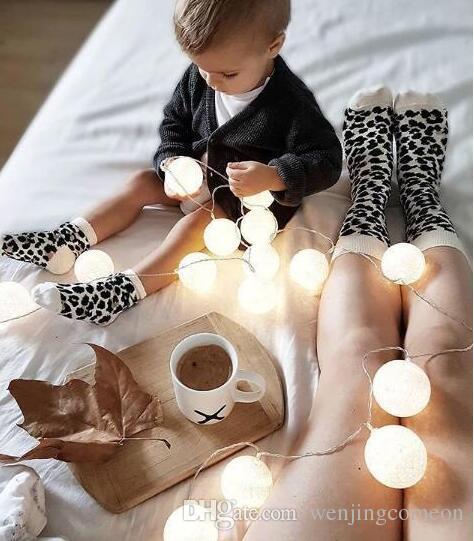 Leopardo stampato unisex adulto uomo donna bambini lungo lungo cotone calzini corrispondenza della famiglia genitore-bambino calzini mummia figlia papà figlio calze