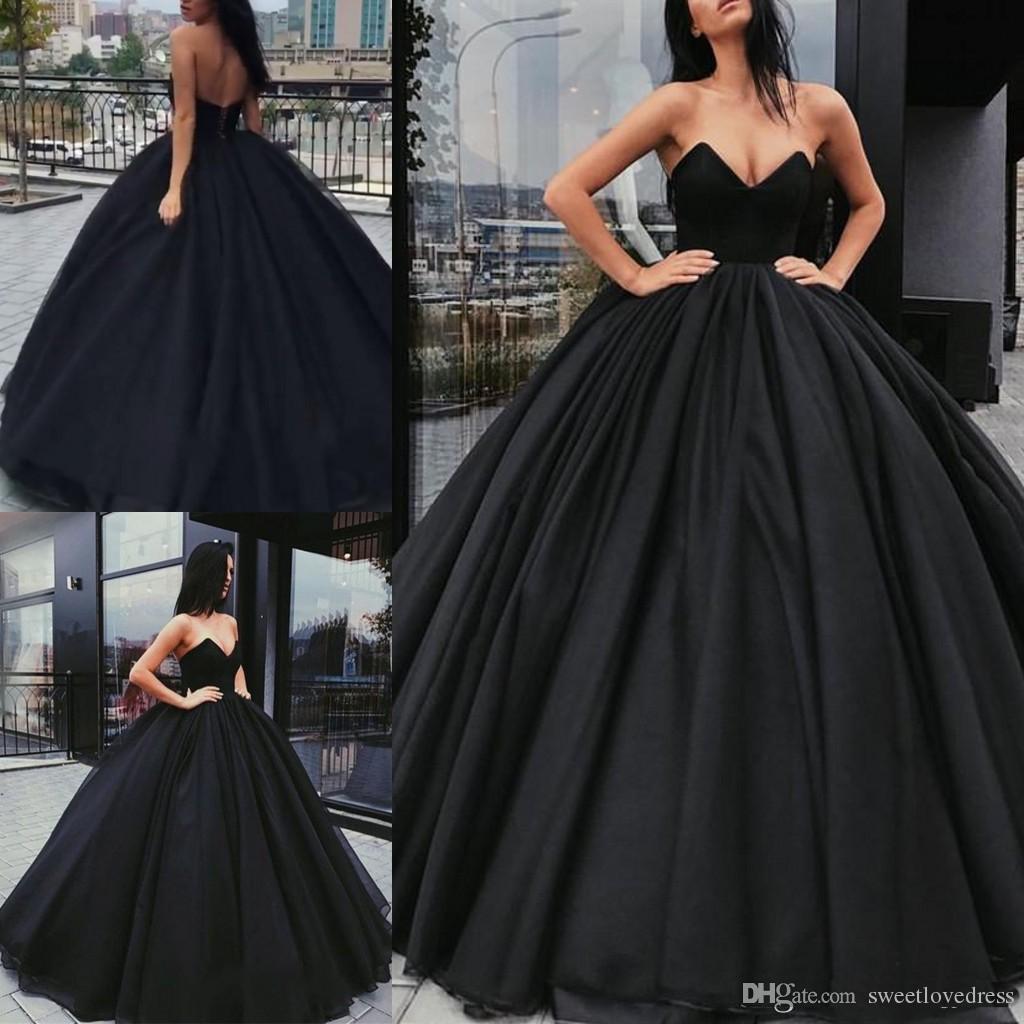 Elegant Black Ball Gown Prom Dressessexy V Neck Backless Formal