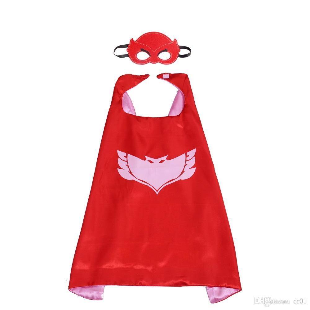 27 Zoll PJ Kostüm Satin Superhero Cape mit Maske für Kinder Doppelschicht Junge Halloween Cosplay Party Geschenke
