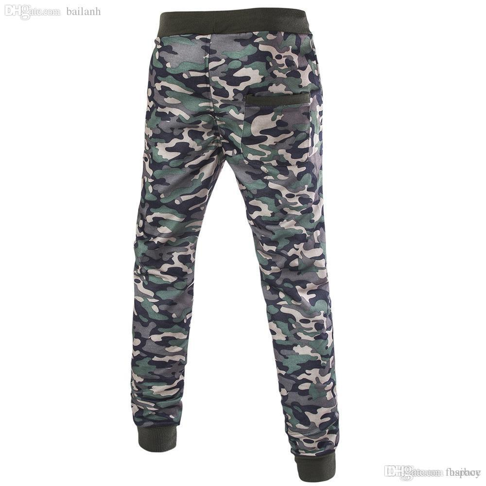 978d1fb7ef All'ingrosso-Moda pantaloni mimetici da uomo hip-hop verde militare  pantaloni casual casual cotone harem pantaloni da jogging pantaloni  sportivi # ...