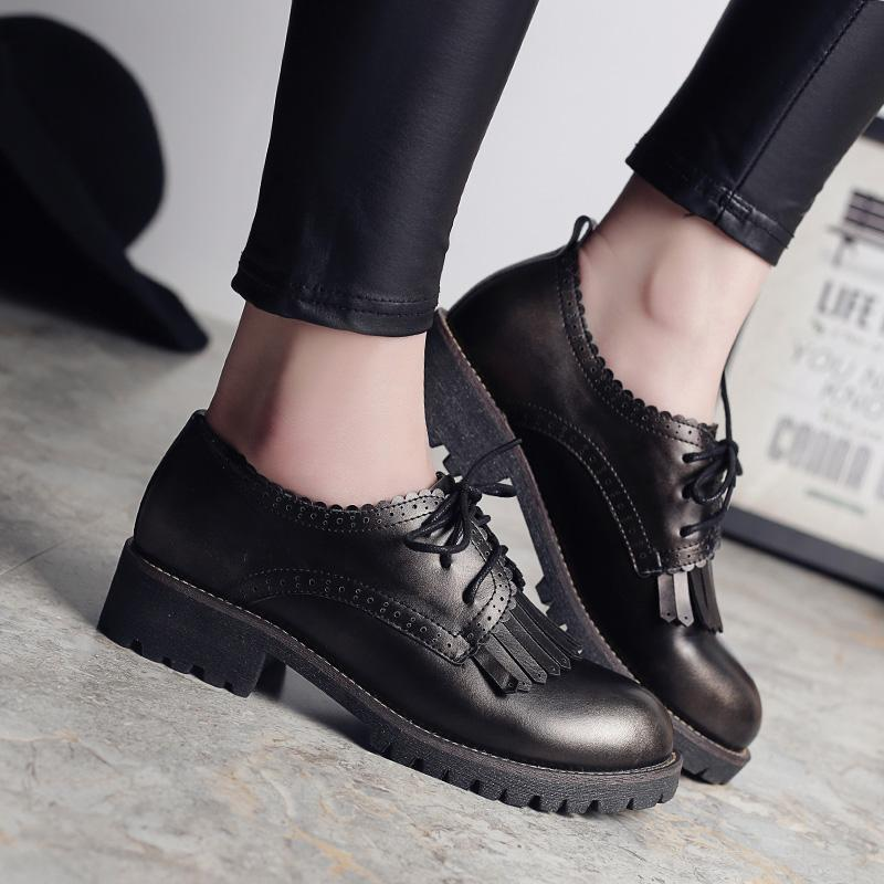 0ccf0080dcf2 Teahoo Retro Lace Up Oxford Shoes For Women 2018 Autumn Fringe Shoes Woman  Brogues Round Toe Leather Women Flats Creepers Boots For Men Wedge Shoes  From ...