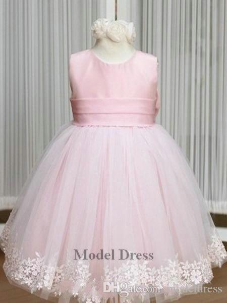 2018 Pink Flower Girl Dresses Jewel Bow Sash Lace Appliques Little Lovely Tulle Satin Ball Gown Princess Pageant Dress Cheap Online Discount