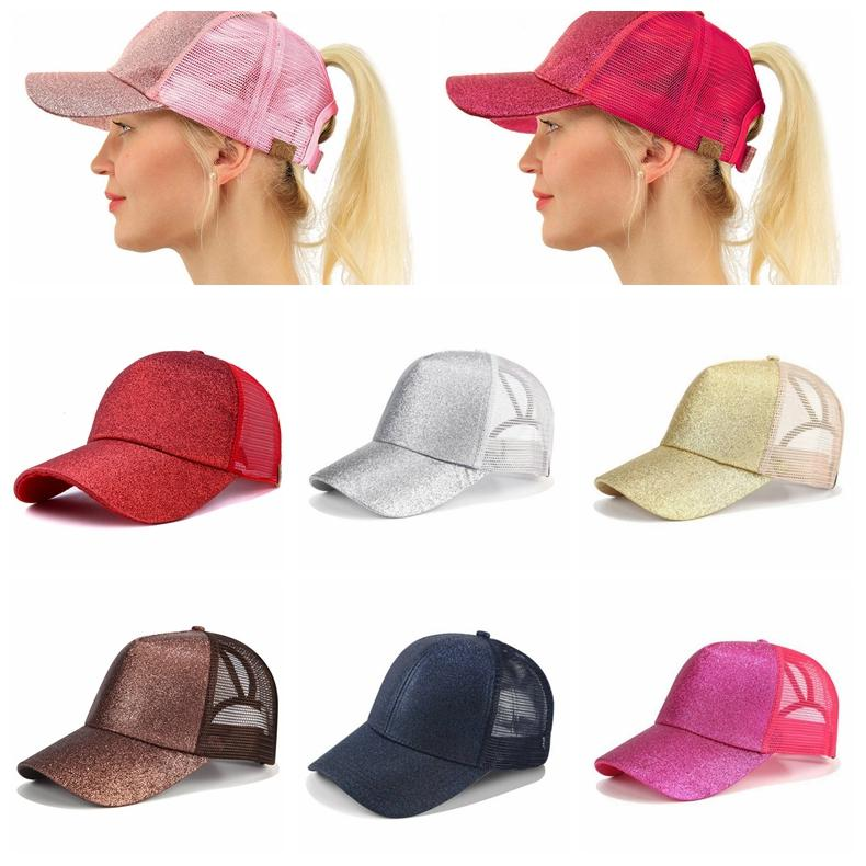 222bec9ab 12 Colors CC Glitter Ponytail Ball Cap Messy Buns Trucker Ponycaps Plain  Baseball Visor Cap CC Glitter Ponytail Snapbacks 120pcs
