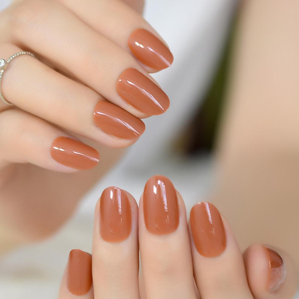 Light Brown False Nails Bright Uv Gel Cover Oval Round Fake Nails