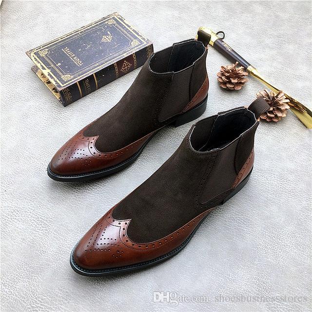 Acquista Uomo Patch Dress Martin Boots Shoes 2018 Autunno Inverno Maschile  Fashion Runway Combat Slip On Stivali Di Pelle Scarpe Italiane Sapatos A   122.62 ... fbd947c8f22