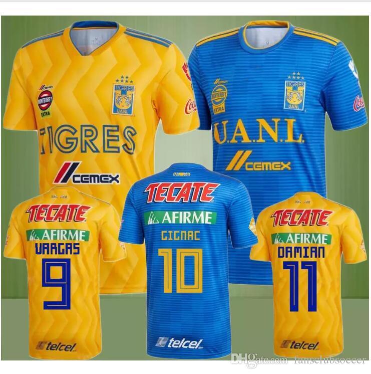 2c16ad3d2bb4 2018 2019 Tigres UANL Soccer Jerseys 18 19 Mexico Club Home Yellow 6 ...