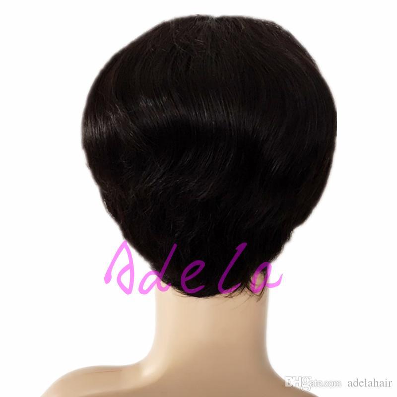 Keine Spitze Pixie Kurzhaarperücken Brasilianische Haarperücken Rihanna Frisuren Günstige menschliche beste Haarspitzefrontseite volle Spitzeperücken für schwarze Frauen