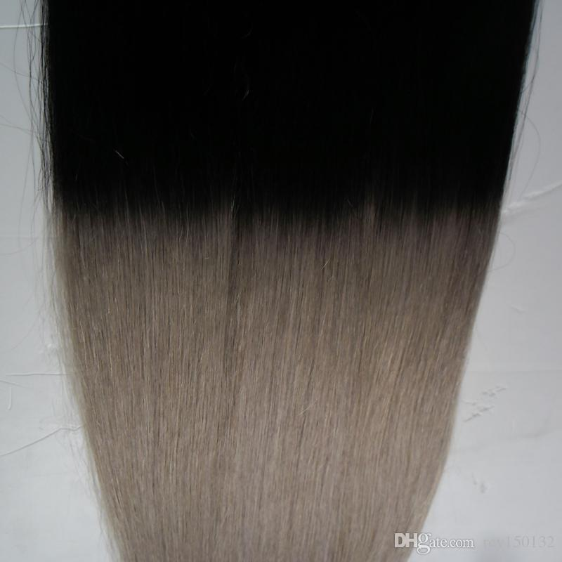 Apply Tape Adhesive Skin Weft Hair T1B/grey ombre human hair Straight 100g tape in human hair extensions