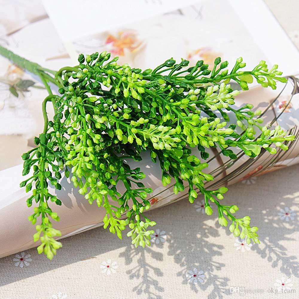 15 teste di seta lavanda artigianale di fiori di plastica artificiale grano simulazione decorativa di piante acquatiche verdi la casa di nozze Decora